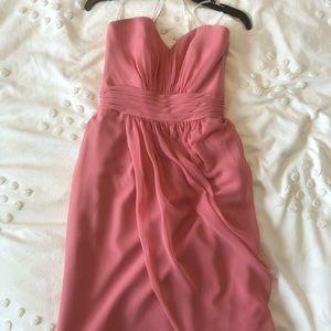 Pink bridesmaid dress, knee length